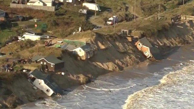Damaged homes along the coast