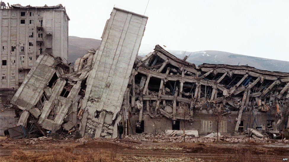 View of the rubble of the devastated town of Spitak, on December 12, 1988, after an earthquake hit Armenia, on December 7, 1988.