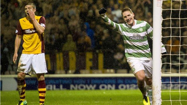 Kris Commons scores for Celtic against Motherwell