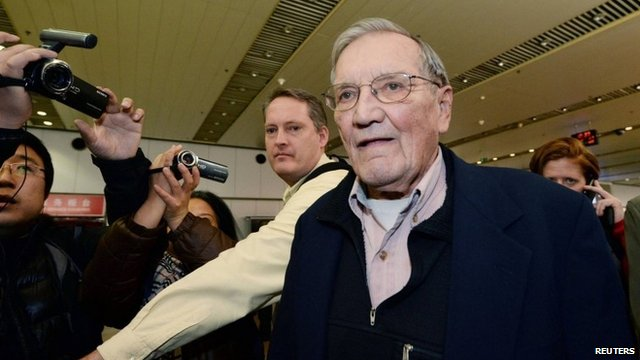 Merrill Newman at Beijing airport