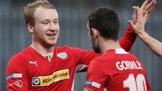 Cliftonville goal-scorers Liam Boyce and Joe Gormley celebrate victory over Glenavon