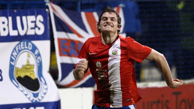 Linfield's Philip Lowry celebrates scoring the late winner against Coleraine