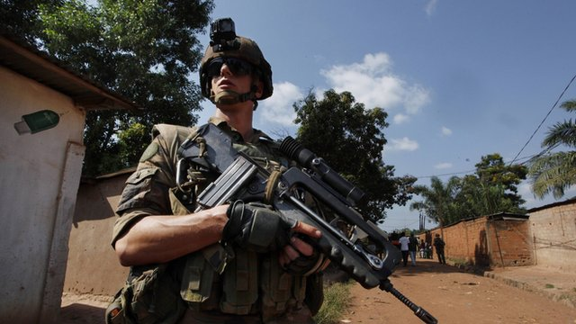 A French soldier patrols in the CAR capital of Bangui