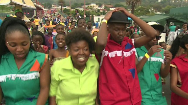 Carnival participants in Johannesburg expressing their gratitude for Nelson Mandela's life
