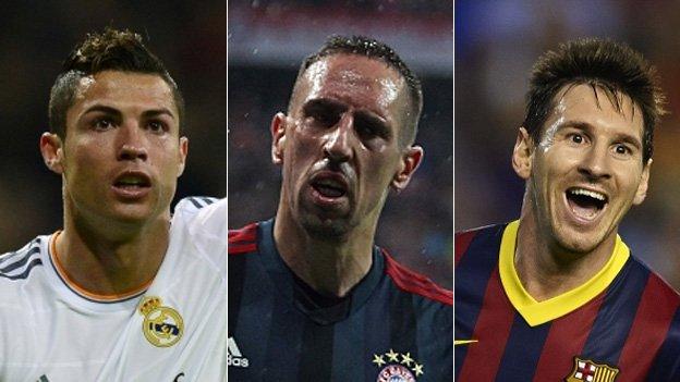Ronaldo, Ribery e Messi