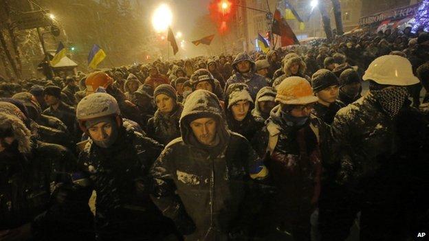 Protesters in central Kiev