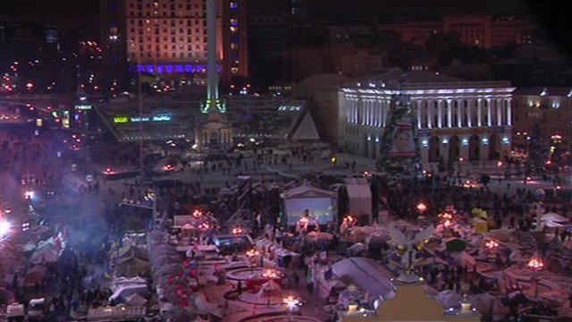 The protest camp in Independence Square