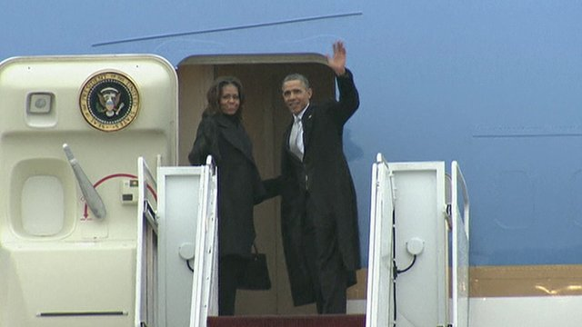 President Obama and his wife Michelle leaving for South Africa