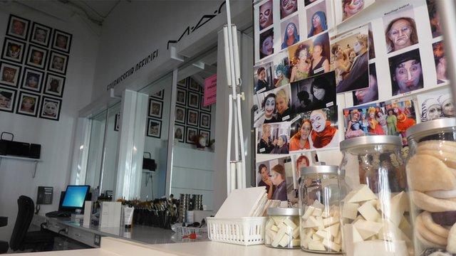 Makeup room at cirque du soleil