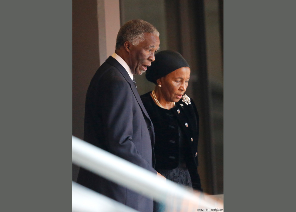 Former South African president Thabo Mbeki and his wife Zanele
