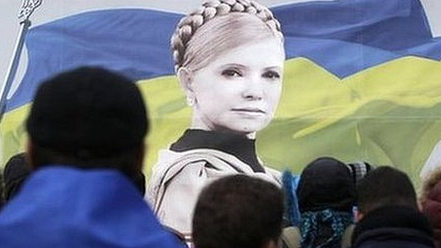 Protesters on the streets have carried portraits of jailed Yulia Tymoshenko