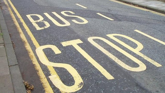 Bus stop road marking