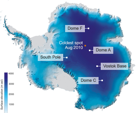 The 2010 cold spot was just south of a ridge running between Dome A and Dome F