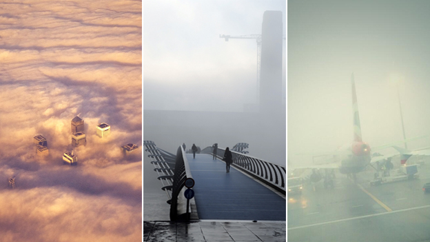 Canary Wharf seen through clouds, Millennium bridge in London covered with fog and a plan grounded at Heathrow