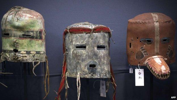 Masks from the Hopi Native American tribe being auctioned in Paris, 9 December