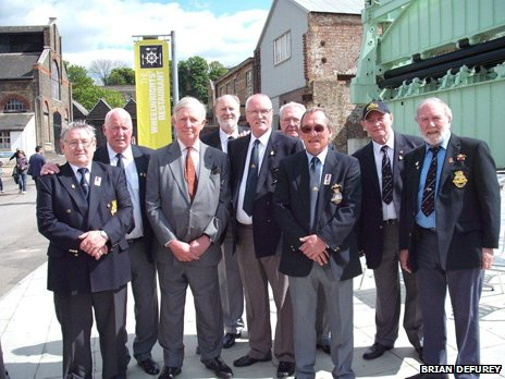 Billy (left), Dixie (centre), Ted (third right) and Nobby (second right) with crewmates in 2012 at the 50th anniversary of the Ocelot's launch