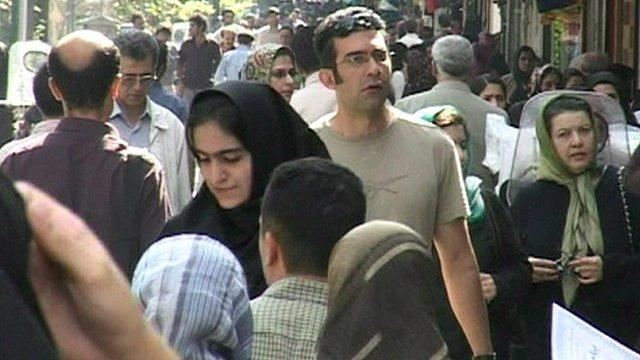 Crowds in a street in Tehran