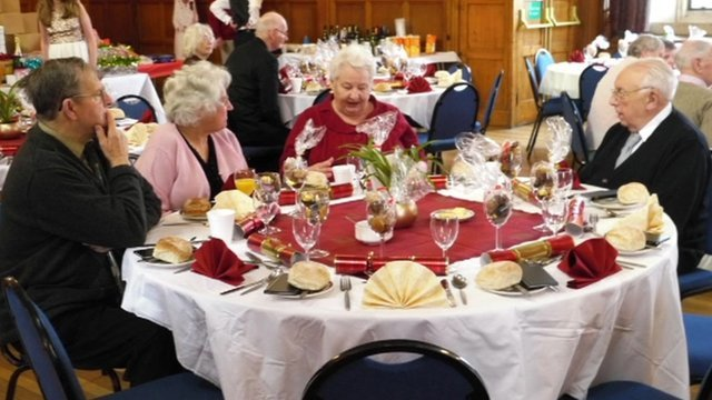 Pensioners at Christmas Lunch