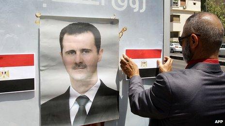 Poster of Syrian President Bashar al-Assad in Damascus