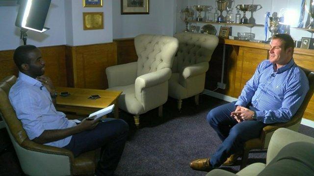 Fabrice Muamba interviews Bury manager David Flitcroft