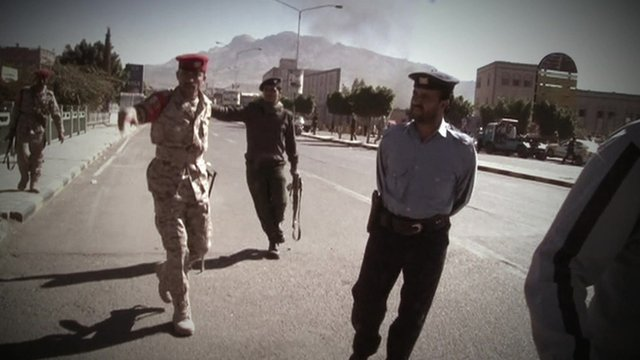 Soldiers and police in Yemen