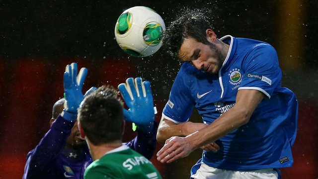 Linfield's Andrew Waterworth opens the scoring against Ballinamallard