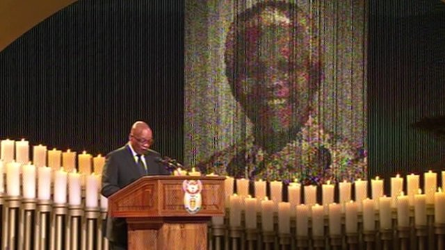 Jacob Zuma speaks at Nelson Mandela's funeral