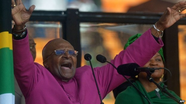 Archbishop Emeritus Desmond Tutu addressing the memorial service on 10 Dec
