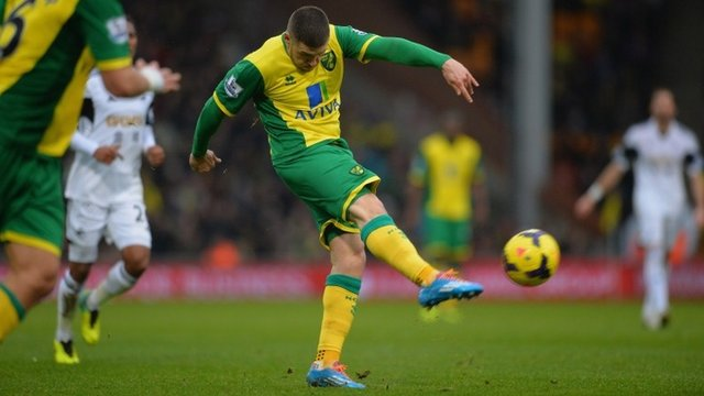 Gary Hooper scores for Norwich