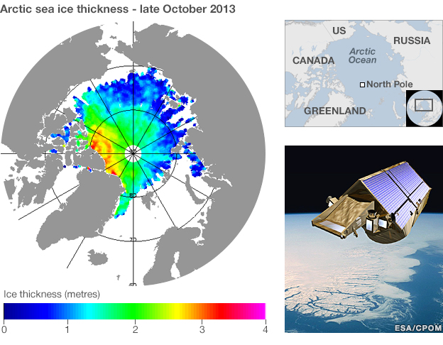 Arctic sea ice thickness - late Oct 2013