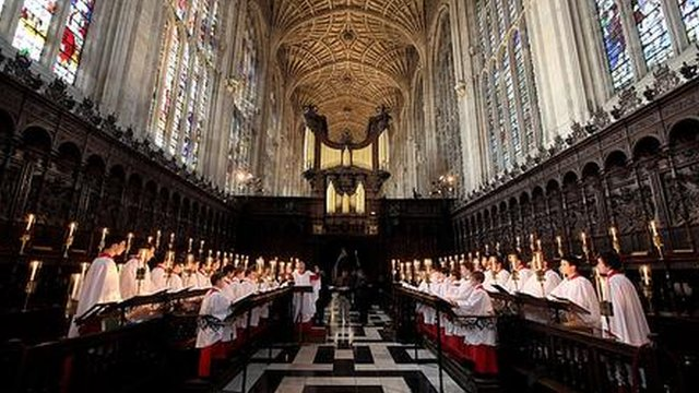 Choir sing in King's College, Cambridge