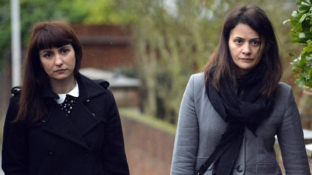 Sisters Francesca and Elisabetta Grillo arrive at Isleworth Crown Court