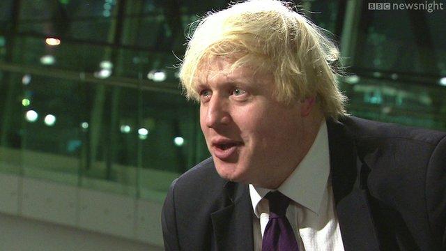 Boris Johnson being interviewed on BBC Newsnight