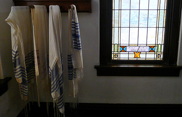 Tallits hang in Greenwood synagogue