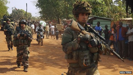 French troops patrol in Bangui. 18 Dec 2013