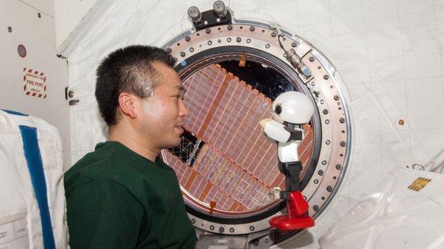 Kirobo and Japanese astronaut Koichi Wakata