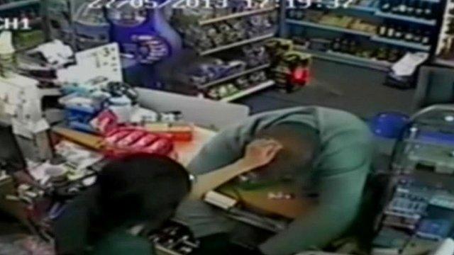Shop owner Rasika Yakanwala and robber Manny Buckland