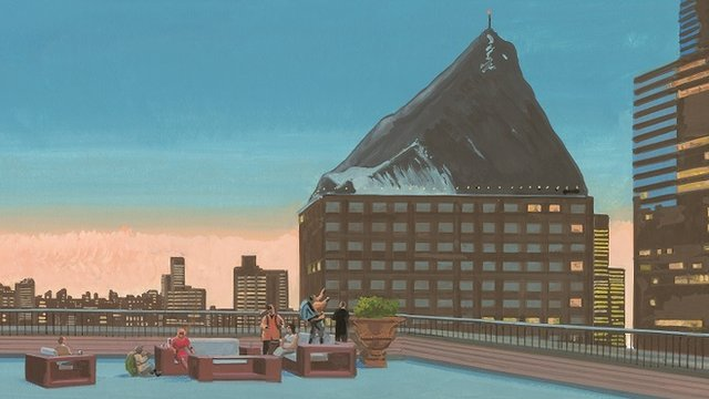 Painting of people on a Manhattan balcony looking up at the top of Mount Everest