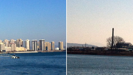 Dandong on the left, and on the right, North Korea