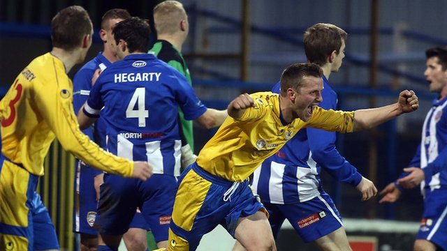 Terry Fitzpatrick opens the scoring for Dungannon Swifts against Coleraine