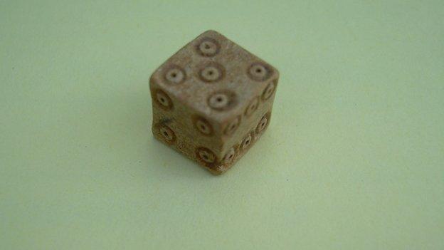 Bone dice were found on the site