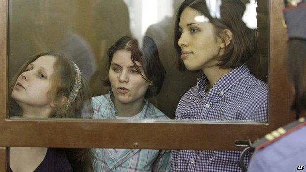 From left, Maria Alyokhina, Yekaterina Samutsevich, Nadezhda Tolokonnikova