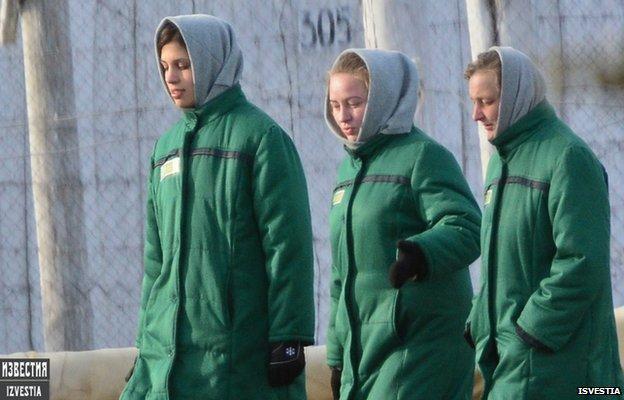 Nadezda Tolokonnikova (left) from Pussy Riot punk Band in prison in Mordovia