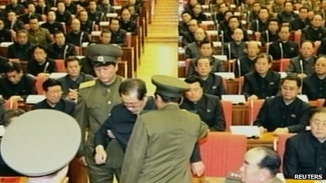 Television footage released on 9 December 2013 shows Chang Song-thaek being forcibly removed by uniformed personnel from a meeting of the Political Bureau of the Central Committee of the Workers' Party of Korea in Pyongyang