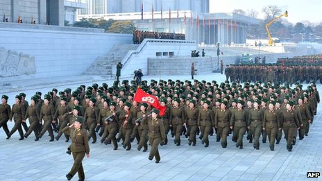 North Korean soldiers gathered at Kumsusan memorial palace in support of their leader Kim Jong-un in Pyongyang, in a photo released on 16 December 2013