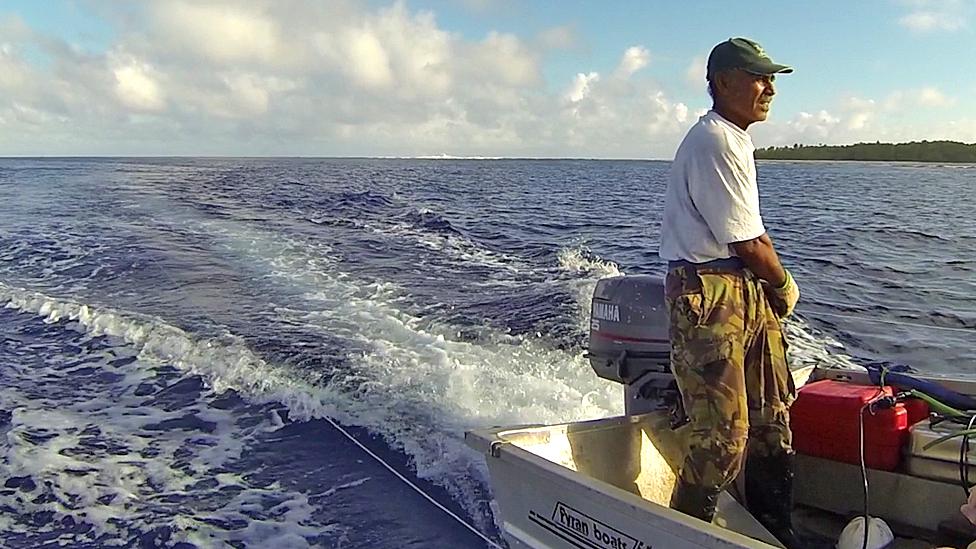 Bill Marsters fishing near Palmerston island