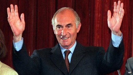 Fernando De la Rua waves in 1999, before he was elected in a landslide.