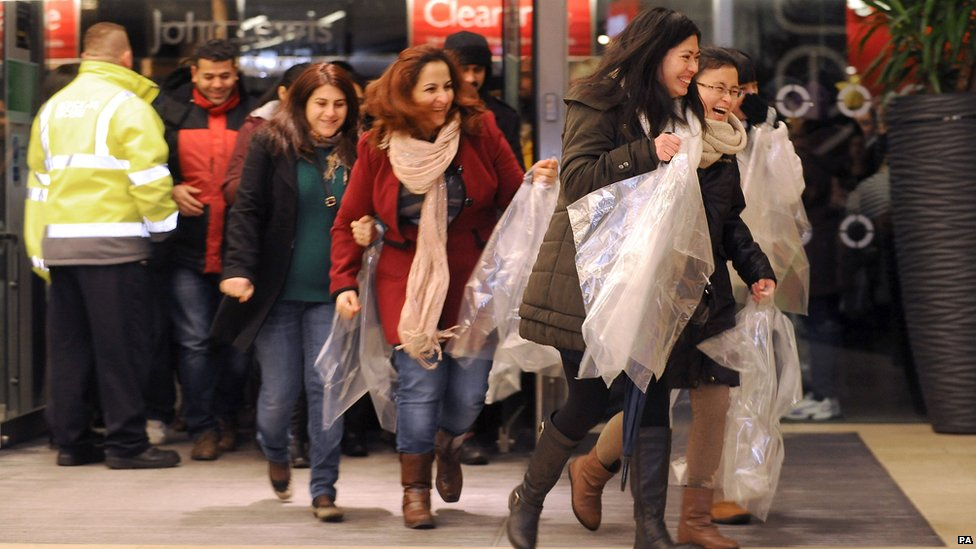 Shoppers at Leicester's Highcross Shopping Centre on Boxing Day.