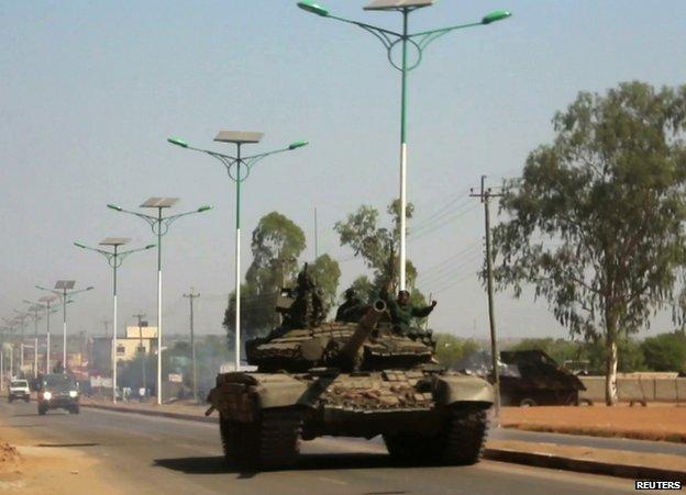 A government tank in Juba, South Sudan, 16 December