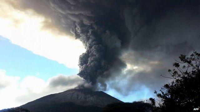 Chaparrastique volcano spewing ash
